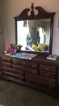 brown wooden lowboy dresser with mirror Rockville, 20850