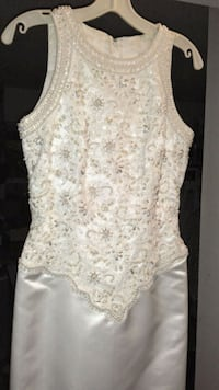 white lace,satin&hand beaded sleeveless dress