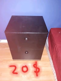 black and brown wooden 2-drawer nightstand Charlemagne, J5Z 3E1
