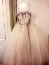Size 6 beige and gray tube-neckline ball gown