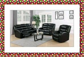 Black recliner sofa and loveseat