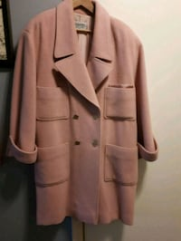 Blush pink double-breasted car coat 543 km