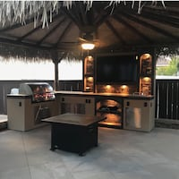 Bbq island tv wall outdoor