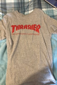 Grey and red thrasher shirt