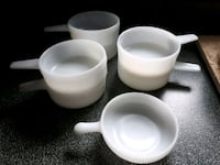 7 oven ware milkglass bowls with handles Rocky Point, C0A 1H2