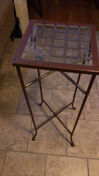 square brown wooden framed glass top table Revere, 02151
