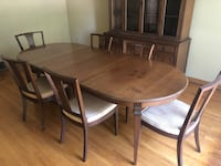 Cherry wood table with six chairs dining set + hutch Hamilton, L9K 1B8