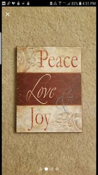 Peace, love & Joy Sign