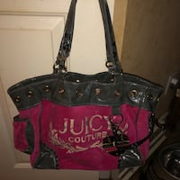 Pink and black juicy couture leather tote bag Clemmons, 27103