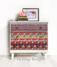 Modern Bohemian chic wood dresser or chest of drawers credenza small sideboard Oro-Medonte, L0L