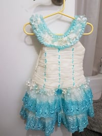 toddler's white and teal floral ball gown