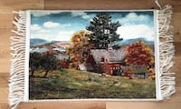 brown wooden house near tree painting