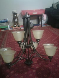 black steel base white shade uplight chandelier Surrey, V3S 3H8