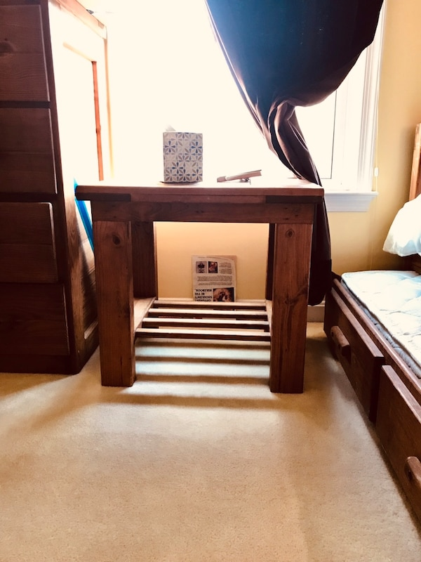 ENTIRE SET OF BEDROOM FURNITURE - all pieces included for price. This End Up original. Trundle (hidden bed) under top twin. End table. Trunk. Dresser. Amazing investment. Mattresses not included. SOLID SET OF WOOD FURNITURE. 568ae3d0-92b9-4f46-925f-db0e85f8aa24
