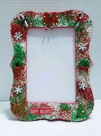 green, red, and white photo frame