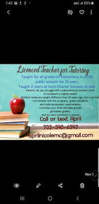 Licensed Teacher for Tutoring North Las Vegas