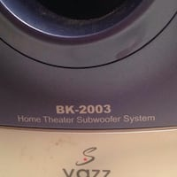 BK-2003 home theater subwoofer system product label