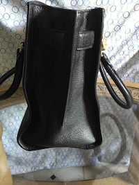 Women's black leather tote bag
