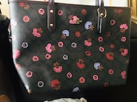 Black and pink floral leather tote bag Falls Church, 22041
