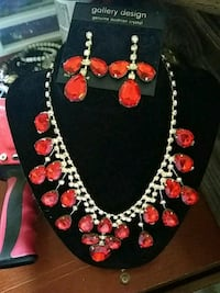 Red and white beaded necklace Del City