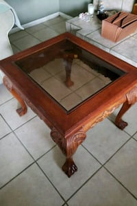 rectangular brown wooden framed glass top coffee t Rancho Cucamonga