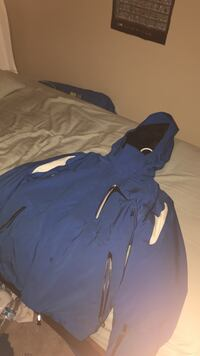 Blue white and black spyder coat, really warm and has many pockets. outgrew it. Palmer, 99645