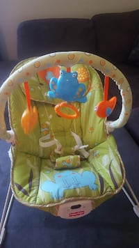 baby's green and white Fisher-Price bouncer seat