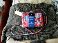 red, blue, and white striped floral wristlet