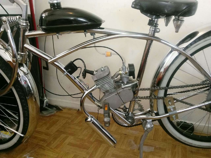 silver Motorized Bicycle