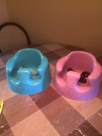 baby's two blue and pink Bumbo floor seats Surrey, V3W 6X6