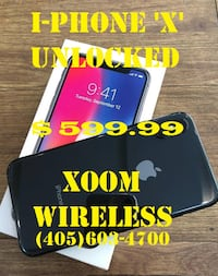 iPhone X Unlocked - Phone includes charger, cable, and limited warranty.  Please come see us today at XOOM WIRELESS! OKLAHOMACITY