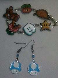 Mario theme bracelet, and earrings