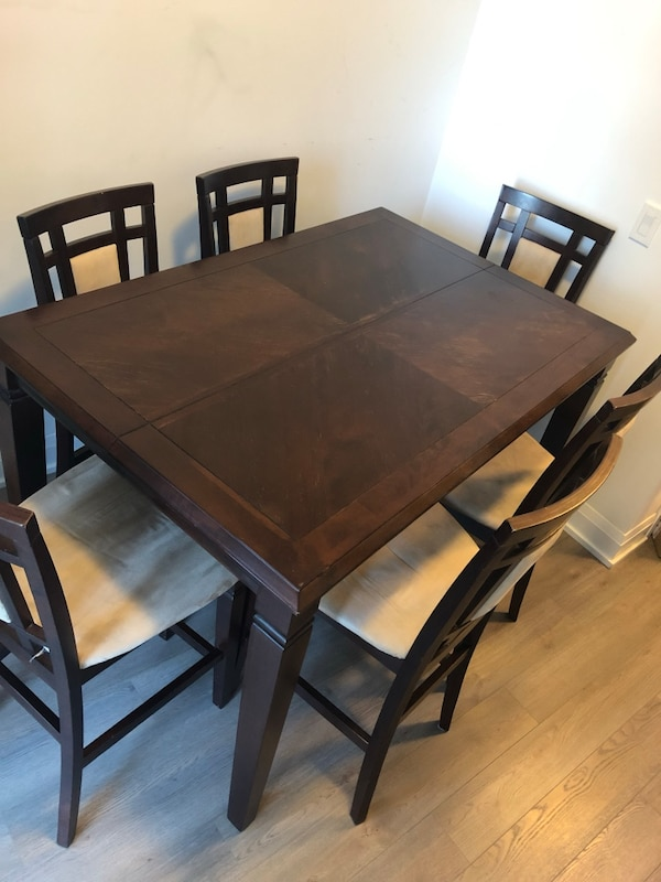 "Counter Height Table for 8 Expandable to a square 54"" x 54""with hidden leaf! Including 8 Chairs!"