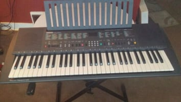 black and white electronic keyboard.