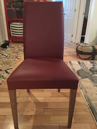 Solid wood and leather chairs  Dorval