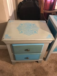 white and blue wooden 2-drawer nightstand