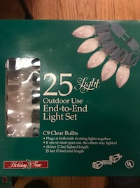 3 Indoor/Outdoor string of lights-25ft. C9 clear bulbs-NEW Boxes