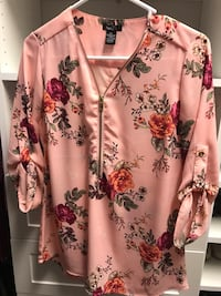 white and pink floral button-up shirt Panama City, 32401