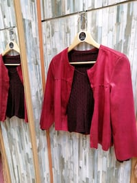 Chaqueta de ante, manga 3/4, color rojo/burdeos Madrid, 28012