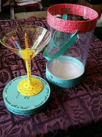 Barware Happy Birthday hand painted martini glass