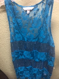 blue and black floral scoop-neck sleeveless dress Norco, 92860