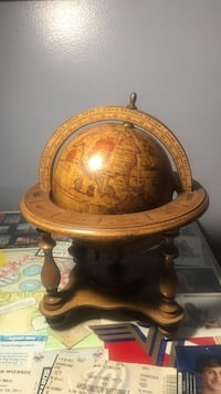 Antique wooden table globe with astrology signs Chantilly, 20151
