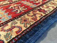 Authentic Kazak Design 100%  Hand Knotted Wool Pile Rug 5X7 Sterling