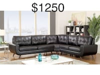 New Mid Century Modern leather sectional couch Los Angeles