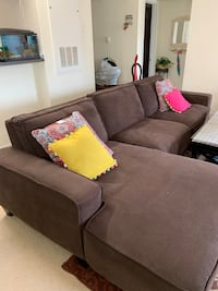Brown Fabric Modular Sectional with Ottoman Herndon, 20171