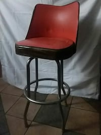 red and black leather padded bar seat