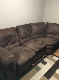 3 Piece Brown Suede? Couch with Chaise Vaughan, L4H