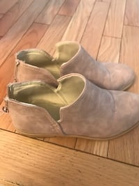 Pink suede booties size 8 (fits small)