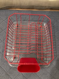 Red wire dish rack and drip pan