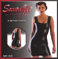 New in the package, Black Latex Mini-Dress, Size Large
